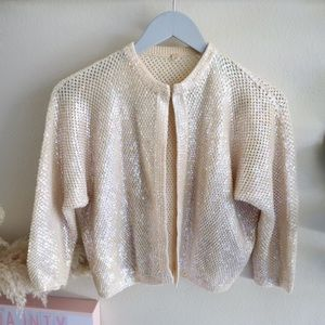 1960's wool knit hand beaded sequins cardigan